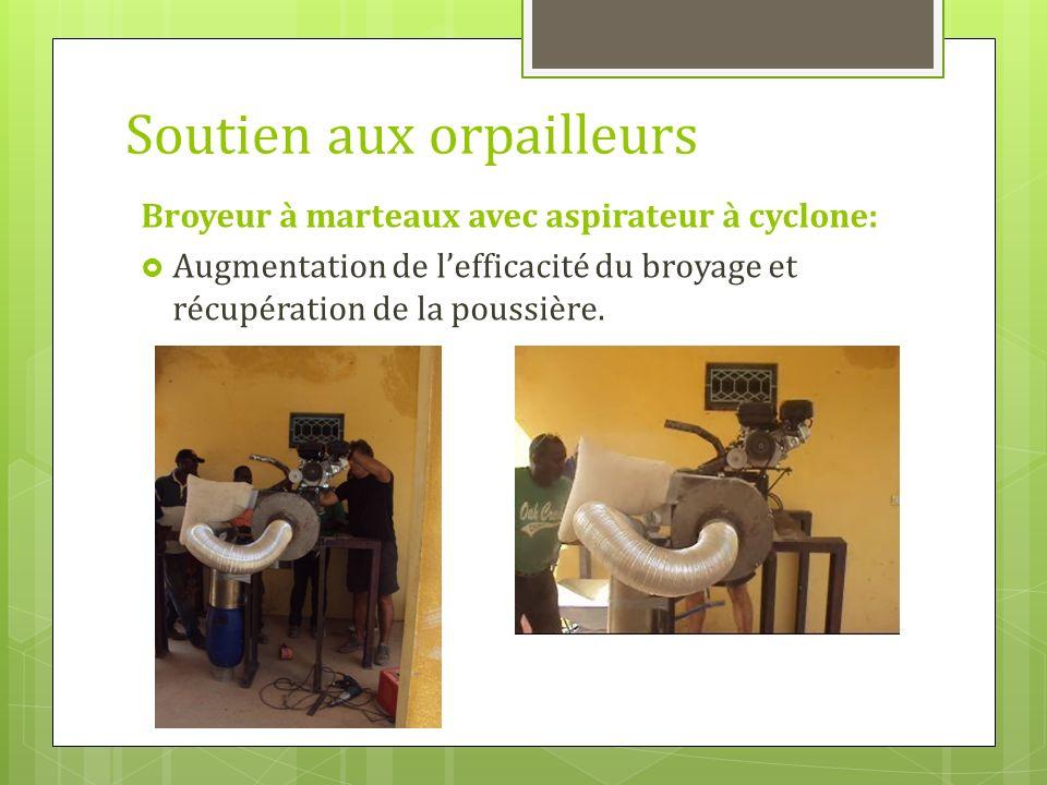 Soutien aux orpailleurs Broyeur à marteaux avec aspirateur à cyclone: Augmentation de lefficacité du broyage et récupération de la poussière.
