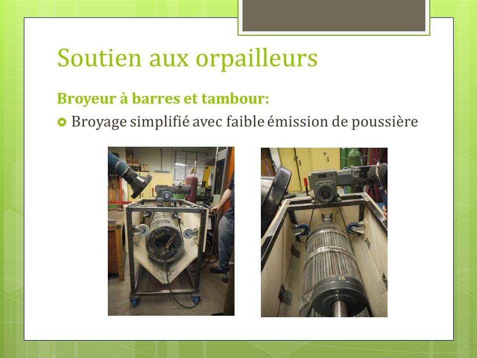 Soutien aux orpailleurs Broyeur à barres et tambour: Broyage simplifié avec faible émission de poussière