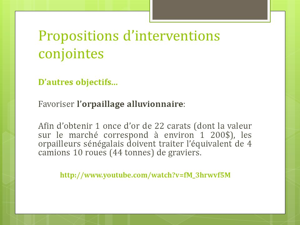 Propositions dinterventions conjointes Dautres objectifs...