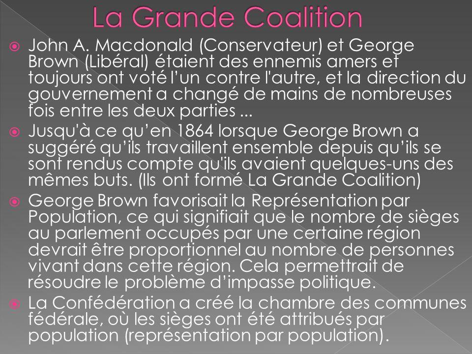 John A. Macdonald (Conservateur) et George Brown (Libéral) étaient des ennemis amers et toujours ont voté lun contre l'autre, et la direction du gouve