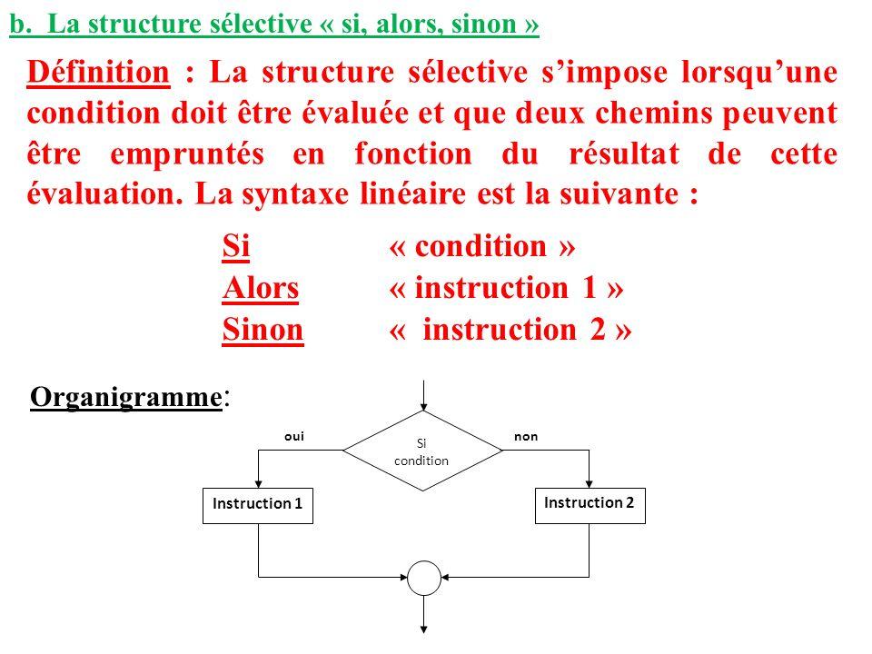 b. La structure sélective « si, alors, sinon » Définition : La structure sélective simpose lorsquune condition doit être évaluée et que deux chemins p