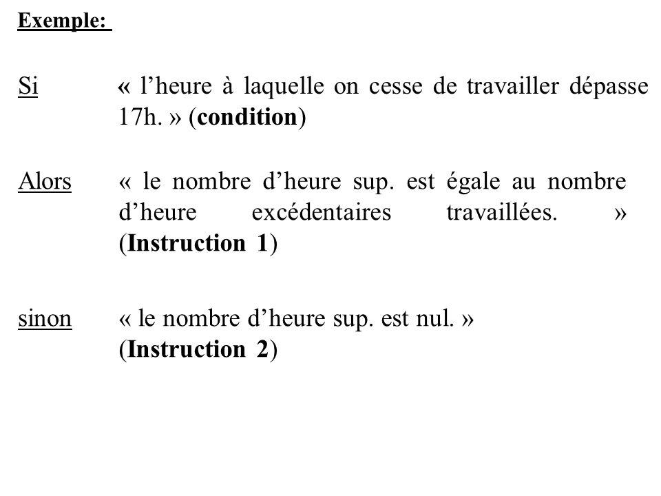 Exemple: Si« lheure à laquelle on cesse de travailler dépasse 17h. » (condition) Alors« le nombre dheure sup. est égale au nombre dheure excédentaires