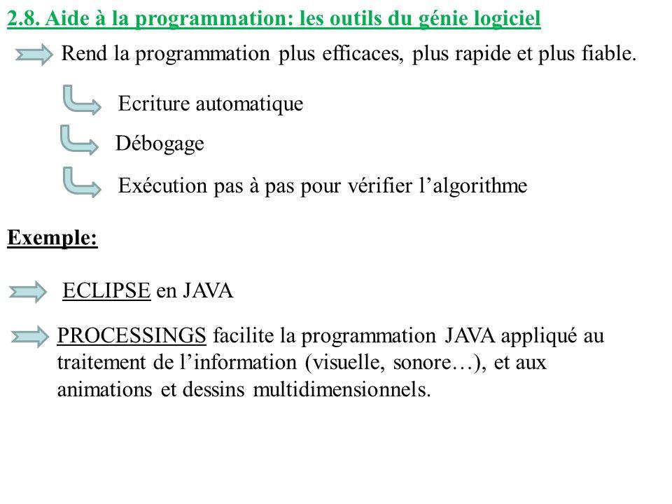 2.8. Aide à la programmation: les outils du génie logiciel Rend la programmation plus efficaces, plus rapide et plus fiable. Exemple: ECLIPSE en JAVA
