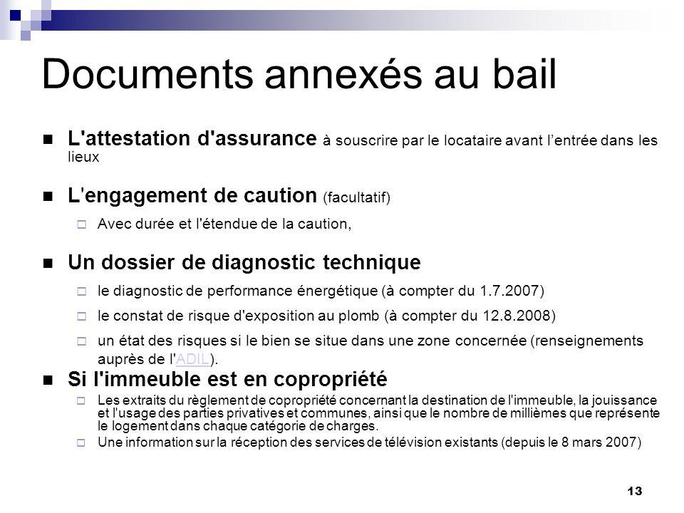 13 Documents annexés au bail L'attestation d'assurance à souscrire par le locataire avant lentrée dans les lieux L'engagement de caution (facultatif)