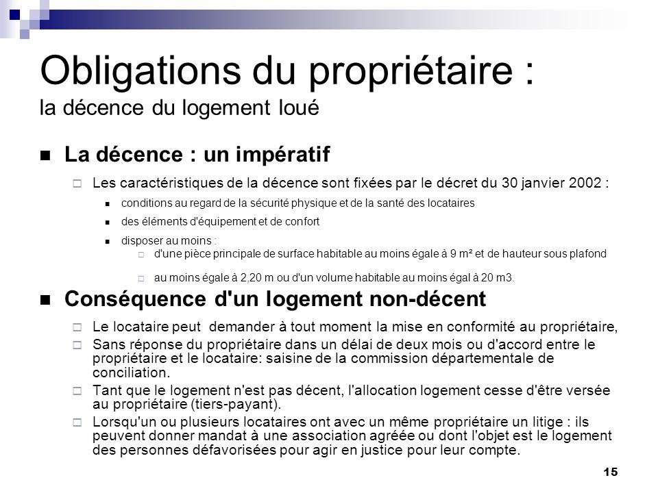 15 Obligations du propriétaire : la décence du logement loué La décence : un impératif Les caractéristiques de la décence sont fixées par le décret du