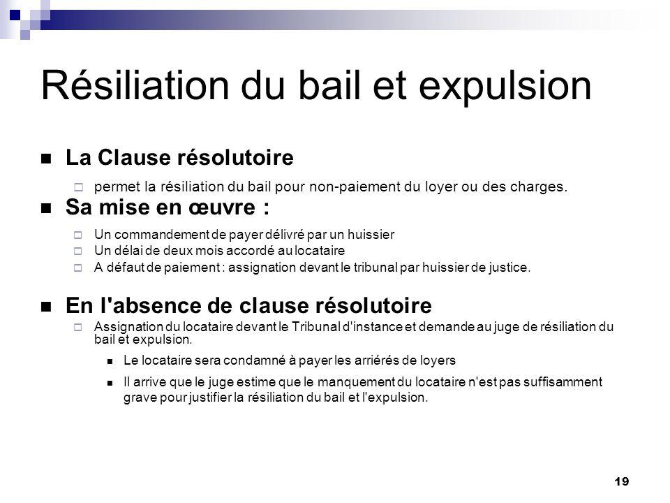 19 Résiliation du bail et expulsion La Clause résolutoire permet la résiliation du bail pour non-paiement du loyer ou des charges. Sa mise en œuvre :