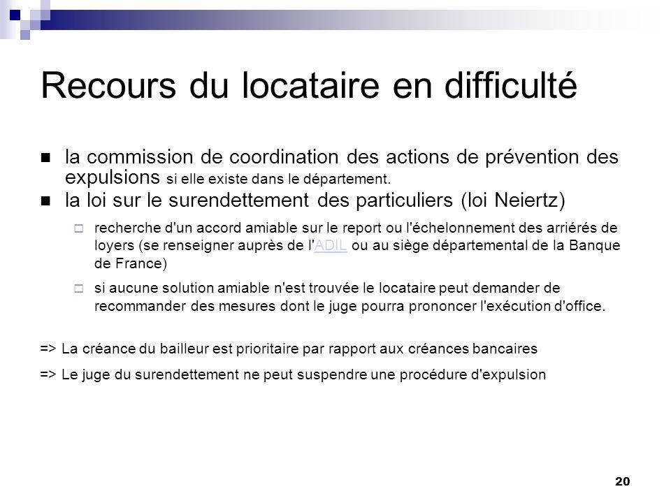 20 Recours du locataire en difficulté la commission de coordination des actions de prévention des expulsions si elle existe dans le département. la lo