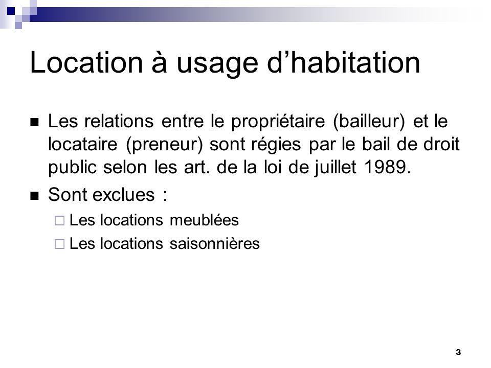 3 Location à usage dhabitation Les relations entre le propriétaire (bailleur) et le locataire (preneur) sont régies par le bail de droit public selon