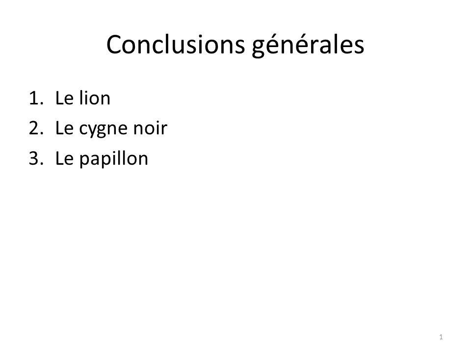 Conclusions générales 1.Le lion 2.Le cygne noir 3.Le papillon 1