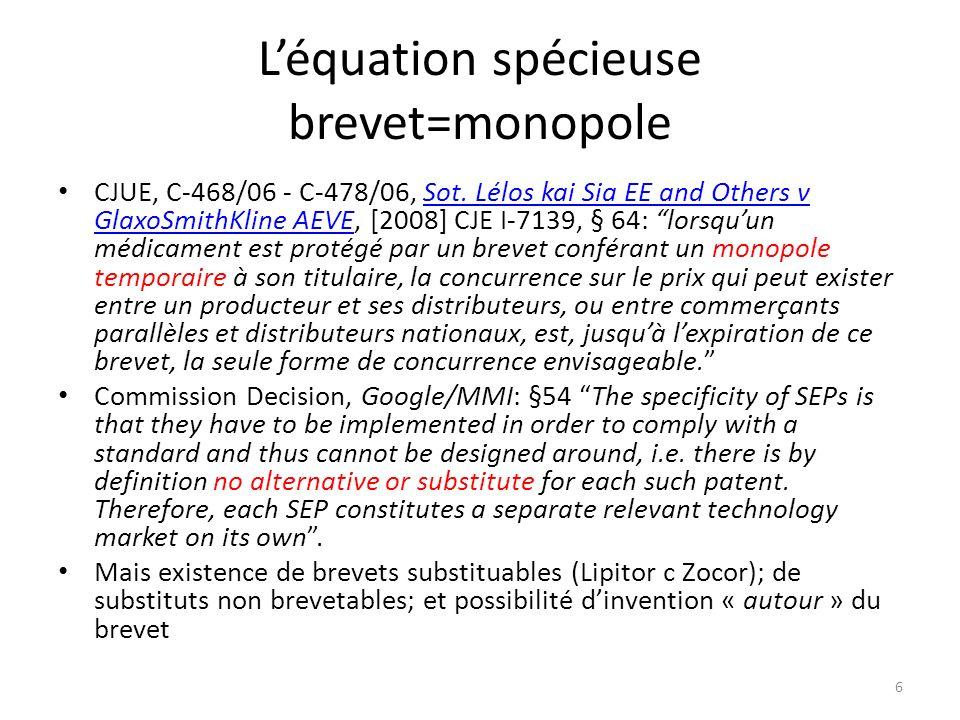 Léquation spécieuse brevet=monopole CJUE, C-468/06 - C 478/06, Sot.