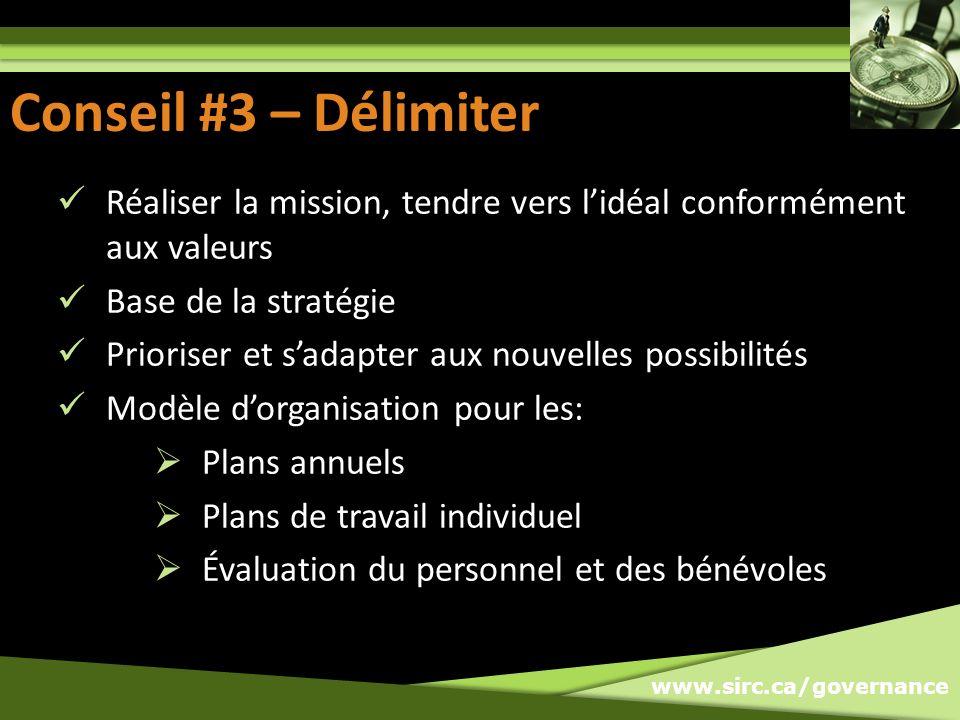 www.sirc.ca/governance Conseil #3 – Délimiter Réaliser la mission, tendre vers lidéal conformément aux valeurs Base de la stratégie Prioriser et sadap