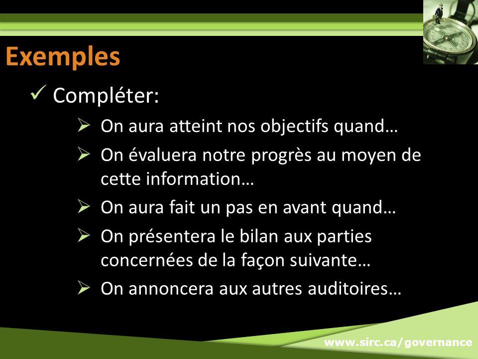 www.sirc.ca/governance Exemples Compléter: On aura atteint nos objectifs quand… On évaluera notre progrès au moyen de cette information… On aura fait