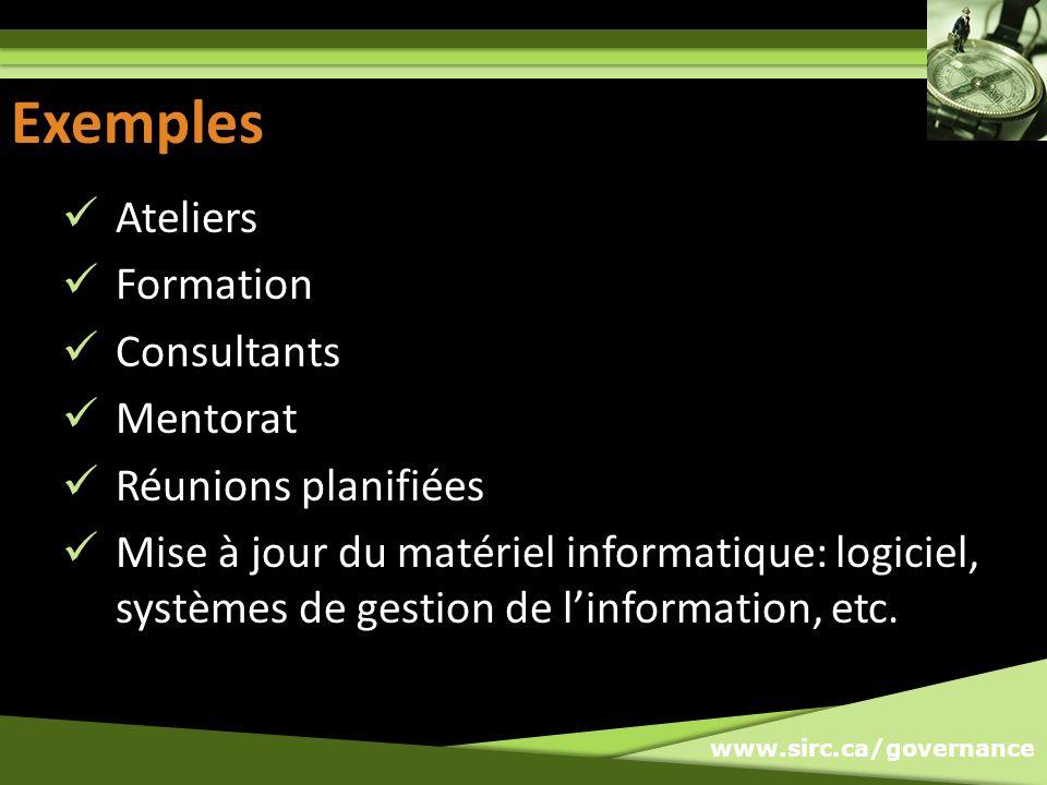 www.sirc.ca/governance Exemples Ateliers Formation Consultants Mentorat Réunions planifiées Mise à jour du matériel informatique: logiciel, systèmes d