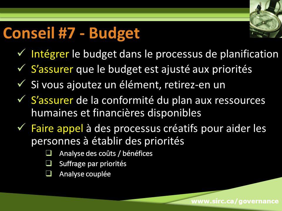 www.sirc.ca/governance Conseil #7: Budget Intégrer le budget dans le processus de planification Sassurer que le budget est ajusté aux priorités Si vou