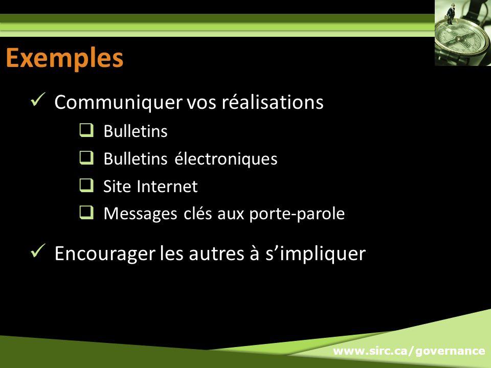 www.sirc.ca/governance Exemples Communiquer vos réalisations Bulletins Bulletins électroniques Site Internet Messages clés aux porte-parole Encourager
