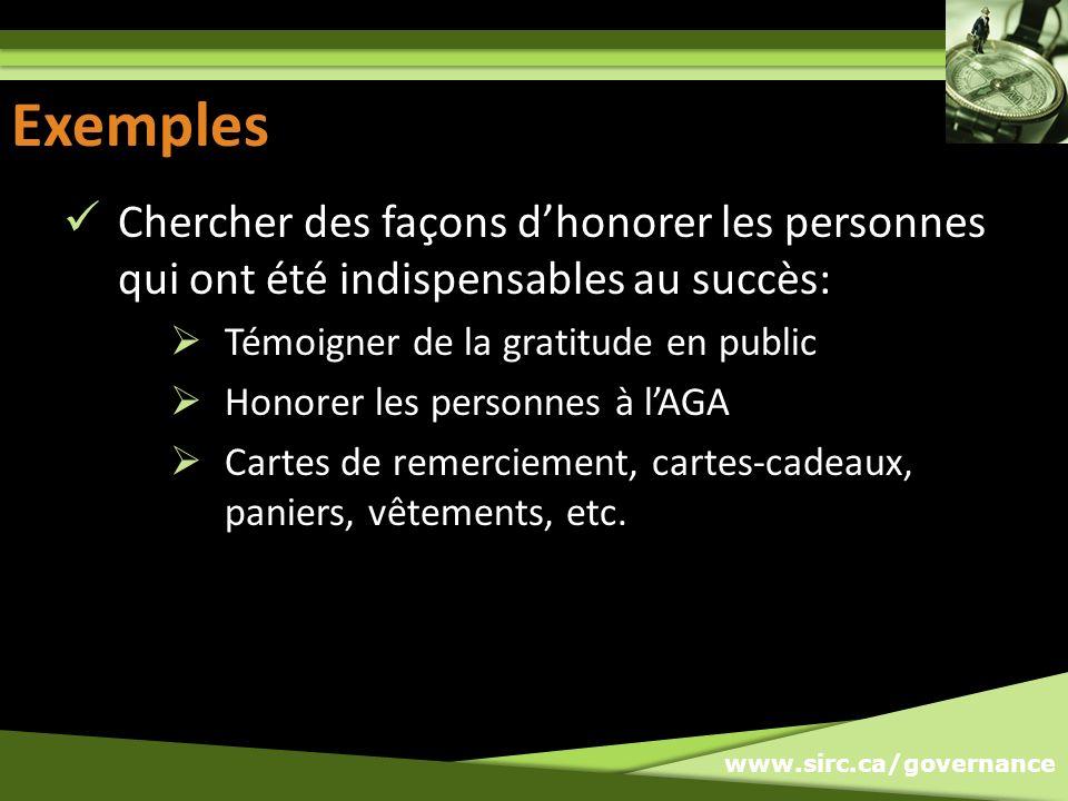 www.sirc.ca/governance Exemples Chercher des façons dhonorer les personnes qui ont été indispensables au succès: Témoigner de la gratitude en public H