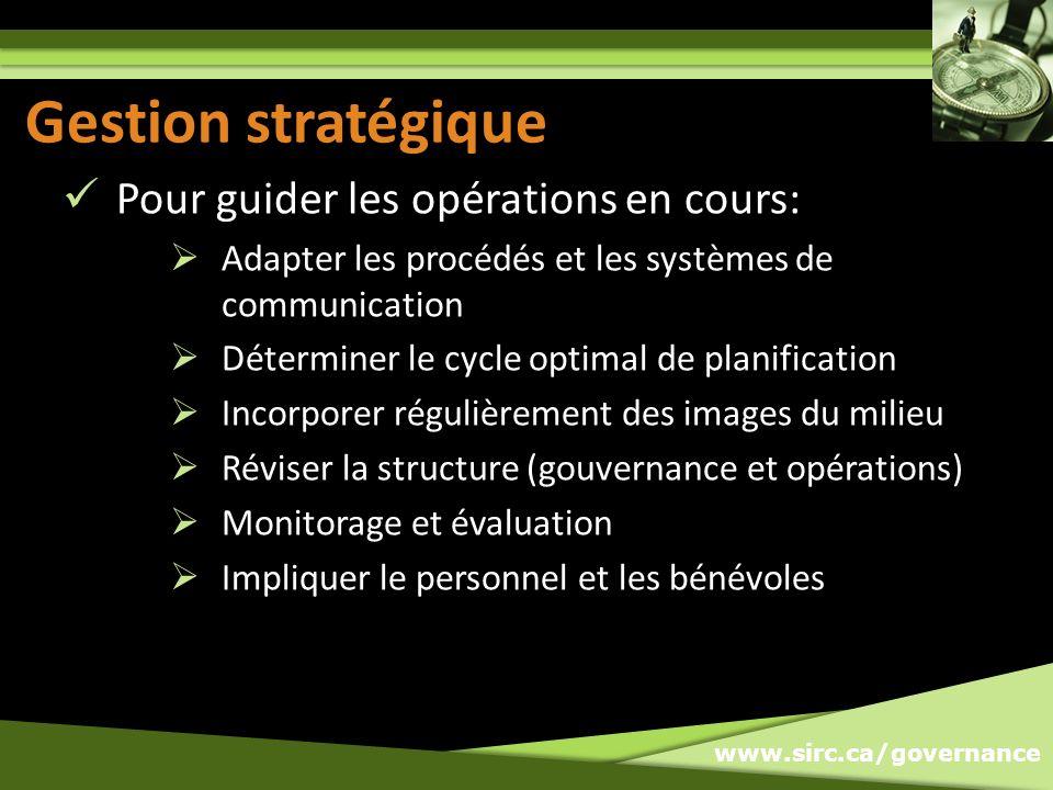 www.sirc.ca/governance Gestion stratégique Pour guider les opérations en cours: Adapter les procédés et les systèmes de communication Déterminer le cy