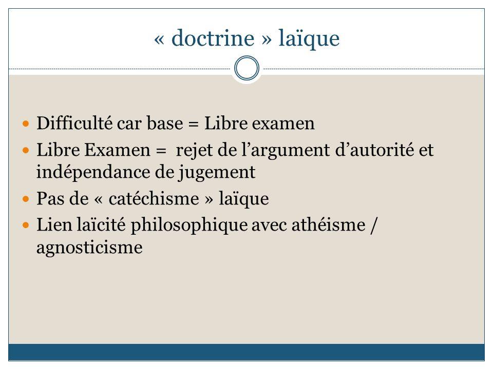 « doctrine » laïque Difficulté car base = Libre examen Libre Examen = rejet de largument dautorité et indépendance de jugement Pas de « catéchisme » l