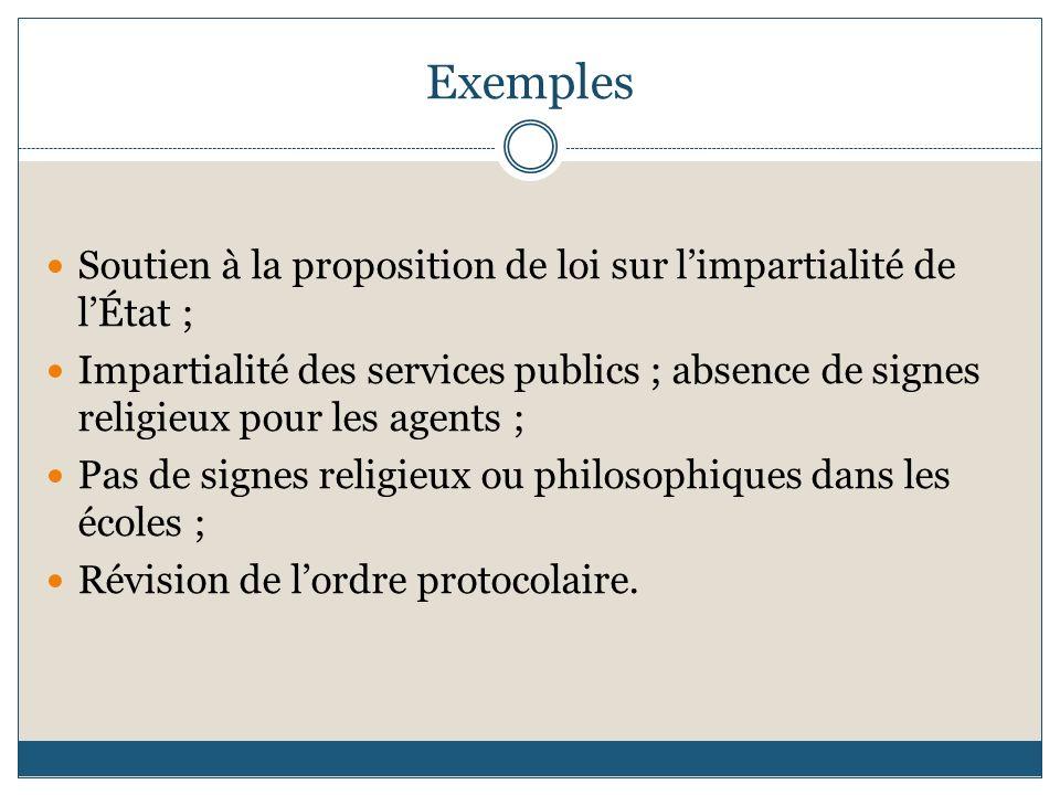 Exemples Soutien à la proposition de loi sur limpartialité de lÉtat ; Impartialité des services publics ; absence de signes religieux pour les agents