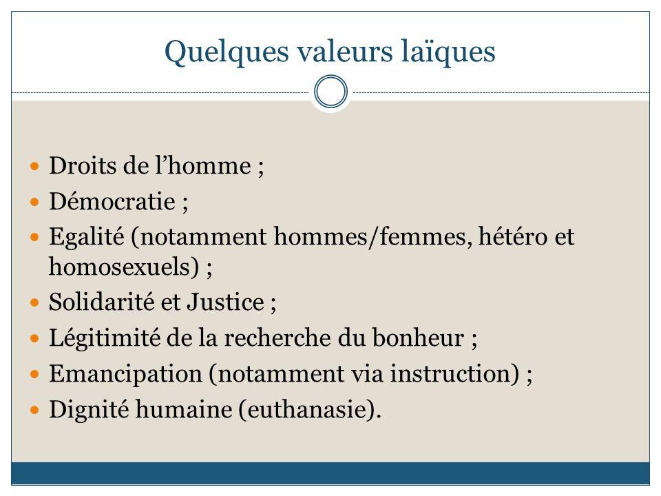 Quelques valeurs laïques Droits de lhomme ; Démocratie ; Egalité (notamment hommes/femmes, hétéro et homosexuels) ; Solidarité et Justice ; Légitimité