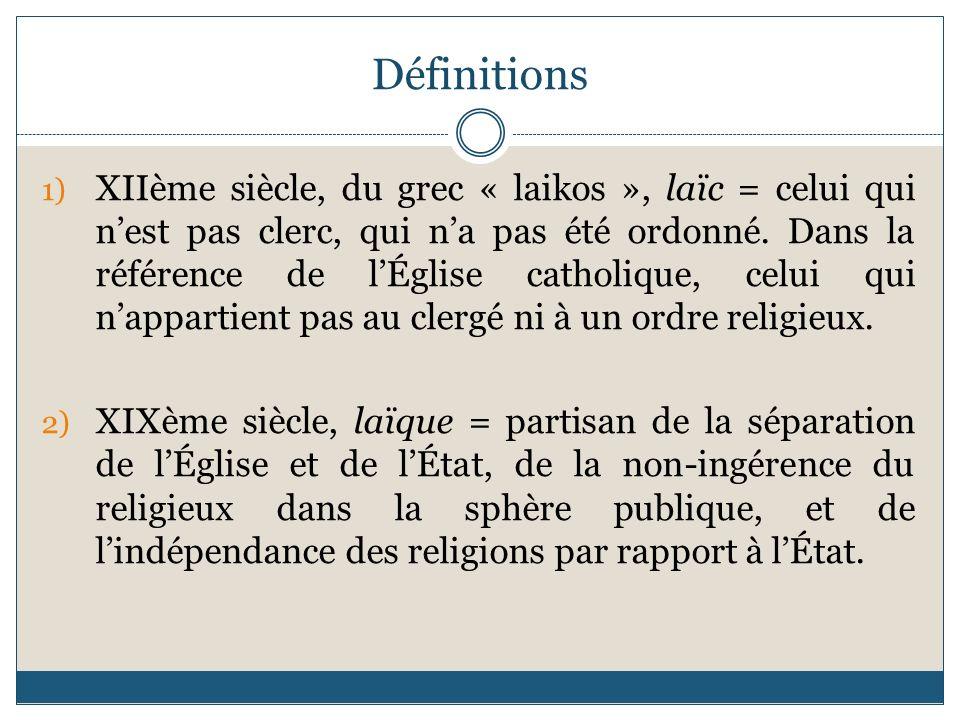 Définitions 1) XIIème siècle, du grec « laikos », laïc = celui qui nest pas clerc, qui na pas été ordonné. Dans la référence de lÉglise catholique, ce