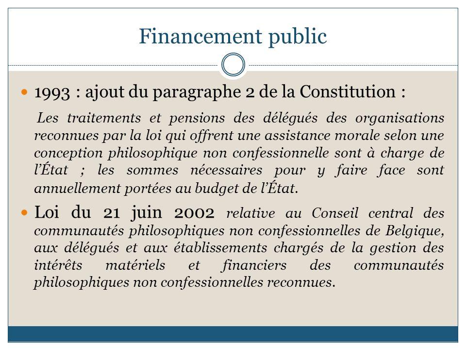 Financement public 1993 : ajout du paragraphe 2 de la Constitution : Les traitements et pensions des délégués des organisations reconnues par la loi q