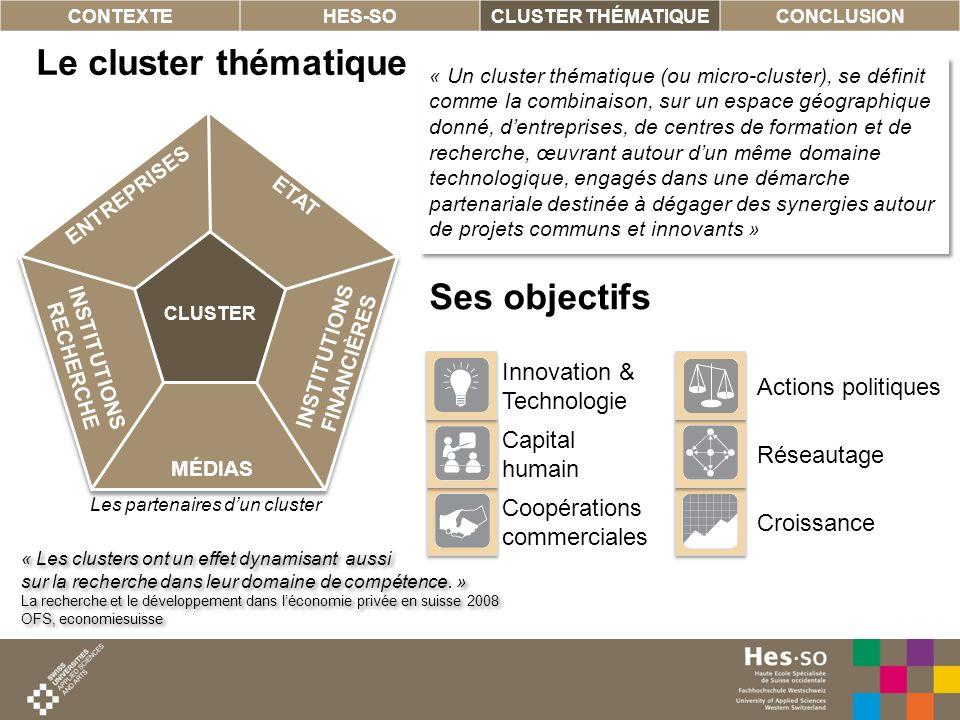 10 Le cluster thématique CONTEXTEHES-SOCLUSTER THÉMATIQUECONCLUSION ENTREPRISES MÉDIAS ETAT CLUSTER INSTITUTIONS FINANCIÈRES INSTITUTIONS RECHERCHE «