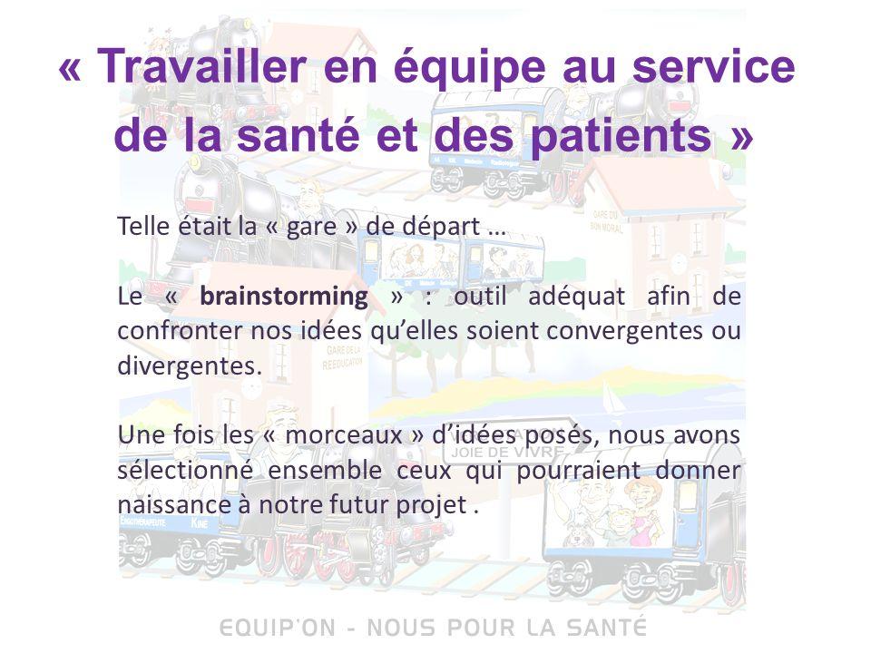 « Travailler en équipe au service de la santé et des patients » Telle était la « gare » de départ … Le « brainstorming » : outil adéquat afin de confr