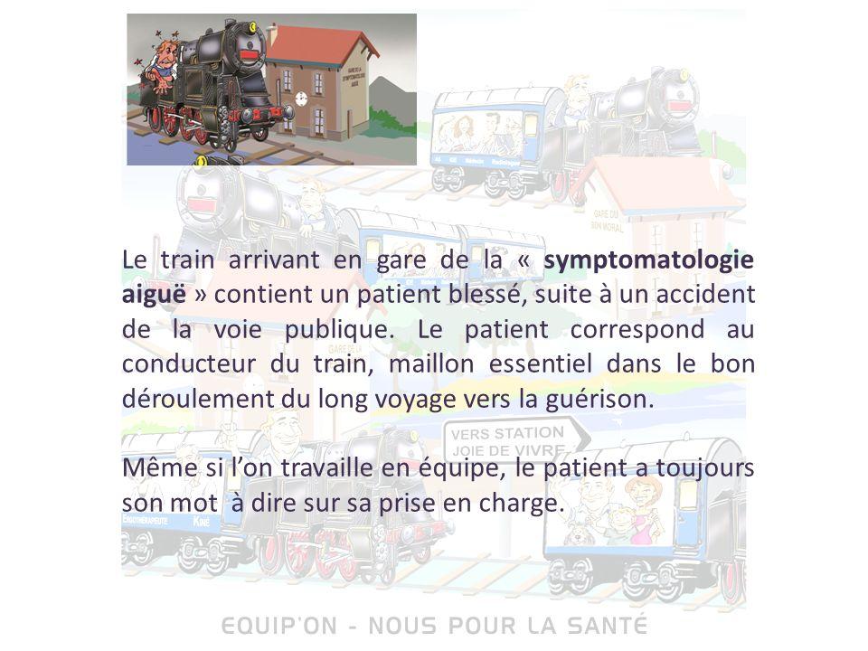 Le train arrivant en gare de la « symptomatologie aiguë » contient un patient blessé, suite à un accident de la voie publique. Le patient correspond a