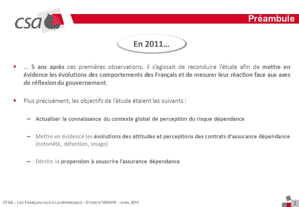 FFSA – L ES F RANÇAIS FACE À LA DÉPENDANCE – E TUDE N °1001618 – AVRIL 2011 3 Préambule...