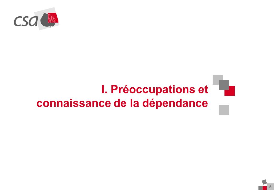 5 I. Préoccupations et connaissance de la dépendance