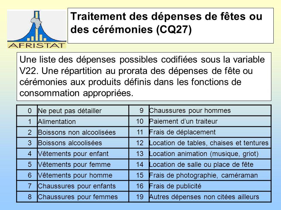 Traitement des dépenses de fêtes ou des cérémonies (CQ27) Une liste des dépenses possibles codifiées sous la variable V22.