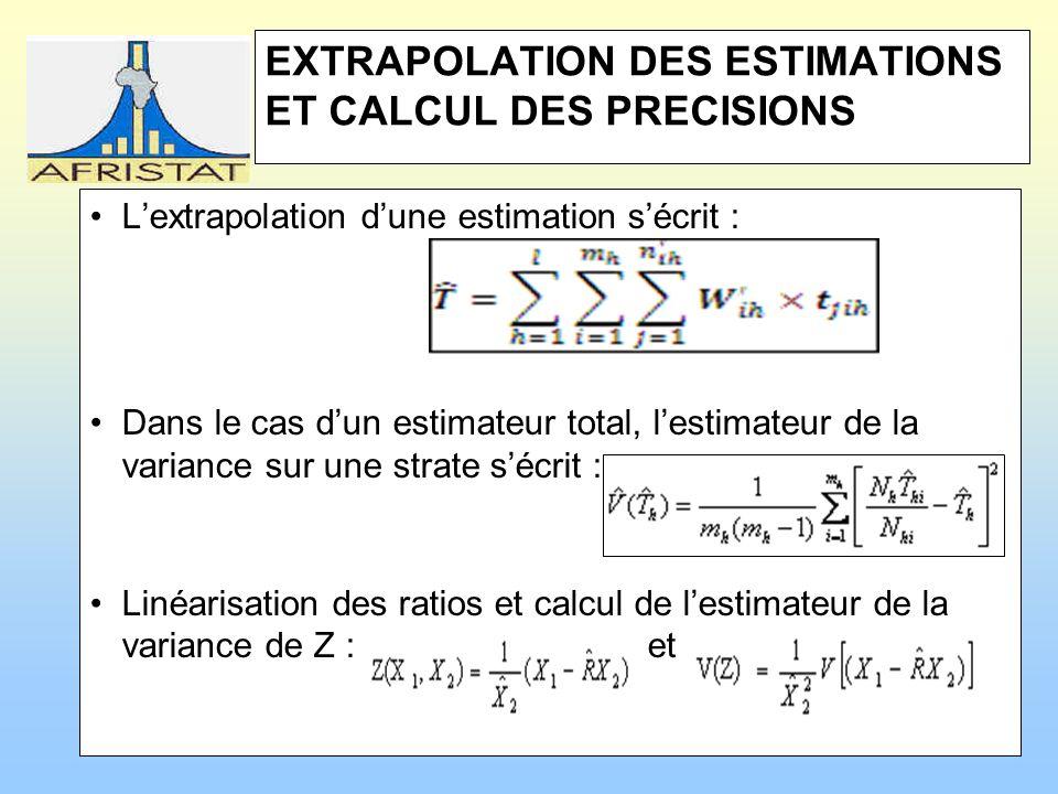 EXTRAPOLATION DES ESTIMATIONS ET CALCUL DES PRECISIONS Lextrapolation dune estimation sécrit : Dans le cas dun estimateur total, lestimateur de la variance sur une strate sécrit : Linéarisation des ratios et calcul de lestimateur de la variance de Z : et
