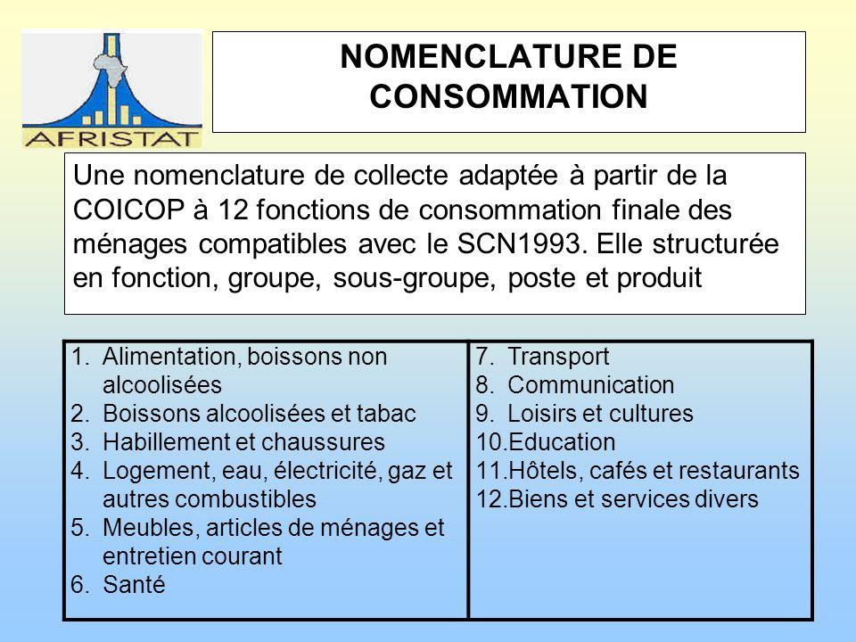 NOMENCLATURE DE CONSOMMATION Une nomenclature de collecte adaptée à partir de la COICOP à 12 fonctions de consommation finale des ménages compatibles avec le SCN1993.