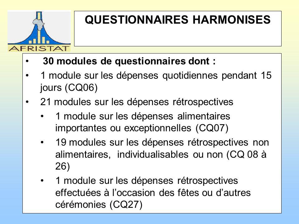 QUESTIONNAIRES HARMONISES 30 modules de questionnaires dont : 1 module sur les dépenses quotidiennes pendant 15 jours (CQ06) 21 modules sur les dépenses rétrospectives 1 module sur les dépenses alimentaires importantes ou exceptionnelles (CQ07) 19 modules sur les dépenses rétrospectives non alimentaires, individualisables ou non (CQ 08 à 26) 1 module sur les dépenses rétrospectives effectuées à loccasion des fêtes ou dautres cérémonies (CQ27)