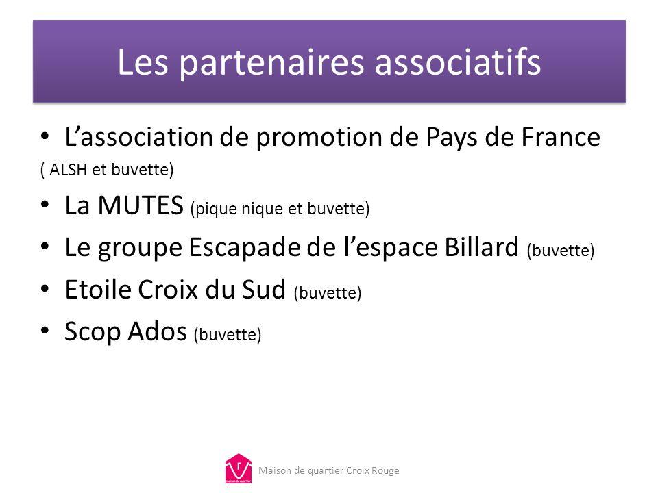 Les partenaires associatifs Lassociation de promotion de Pays de France ( ALSH et buvette) La MUTES (pique nique et buvette) Le groupe Escapade de les