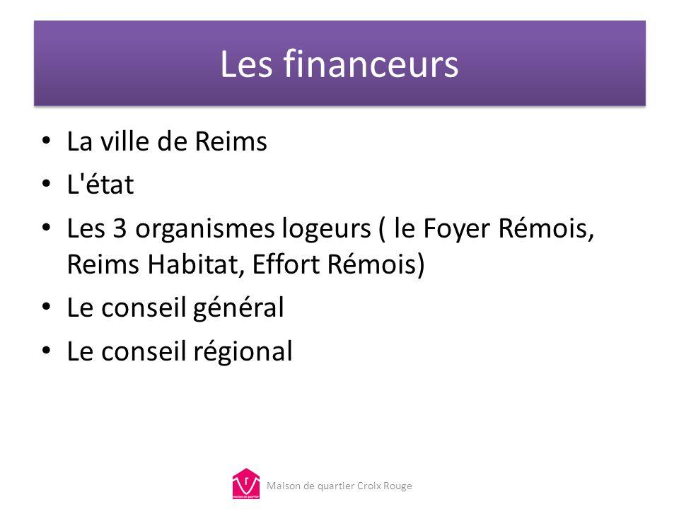 Les financeurs La ville de Reims L'état Les 3 organismes logeurs ( le Foyer Rémois, Reims Habitat, Effort Rémois) Le conseil général Le conseil région