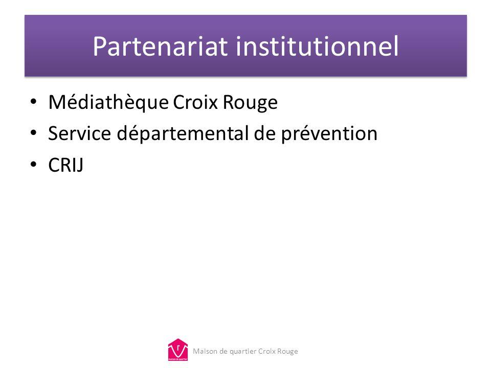 Partenariat institutionnel Médiathèque Croix Rouge Service départemental de prévention CRIJ Maison de quartier Croix Rouge