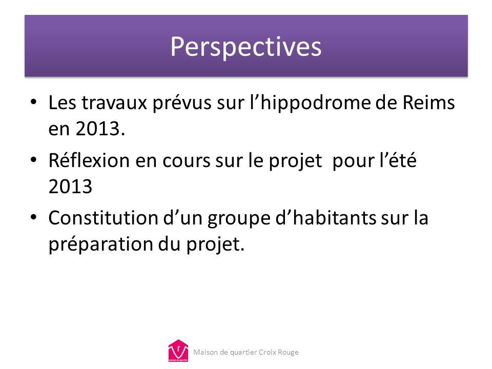 Perspectives Les travaux prévus sur lhippodrome de Reims en 2013. Réflexion en cours sur le projet pour lété 2013 Constitution dun groupe dhabitants s