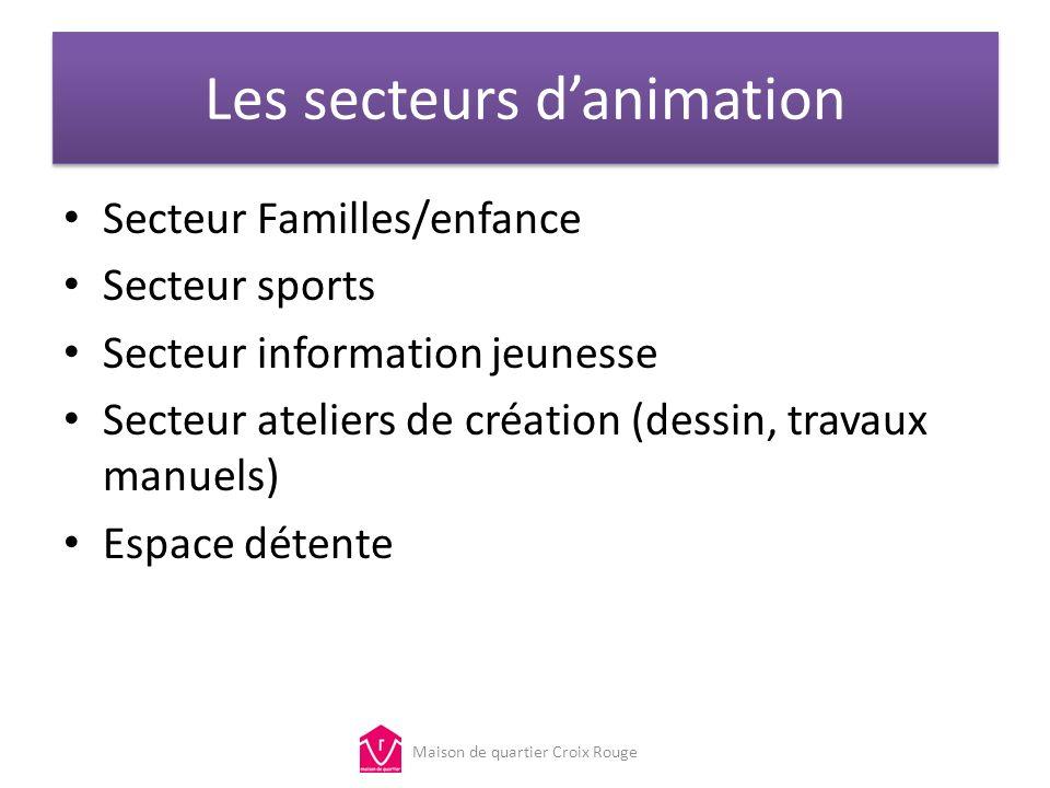 Les secteurs danimation Secteur Familles/enfance Secteur sports Secteur information jeunesse Secteur ateliers de création (dessin, travaux manuels) Es