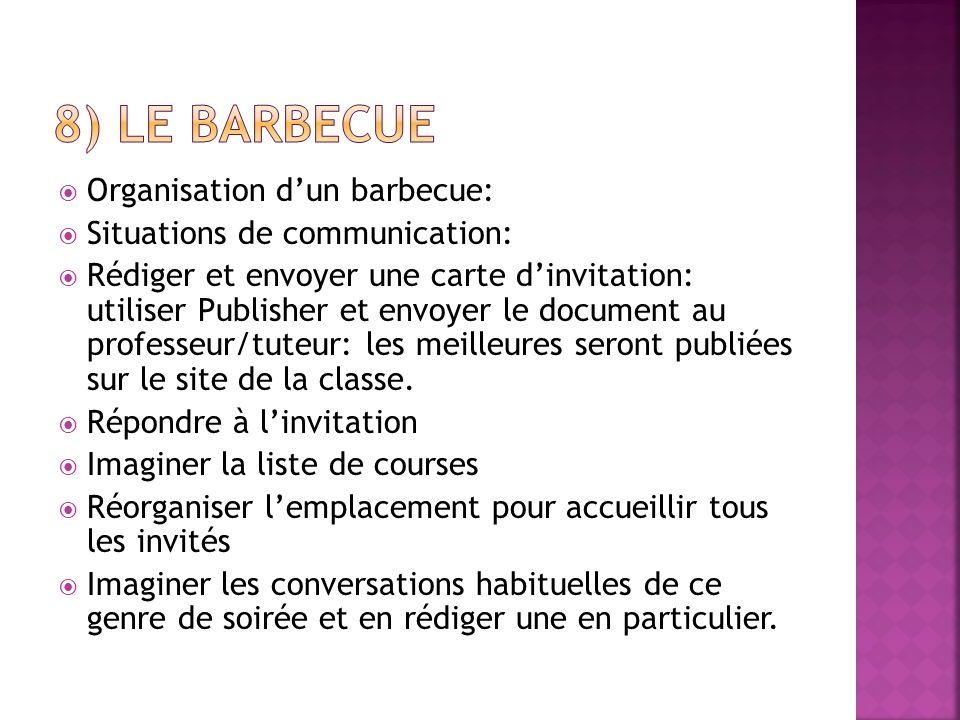 Organisation dun barbecue: Situations de communication: Rédiger et envoyer une carte dinvitation: utiliser Publisher et envoyer le document au profess
