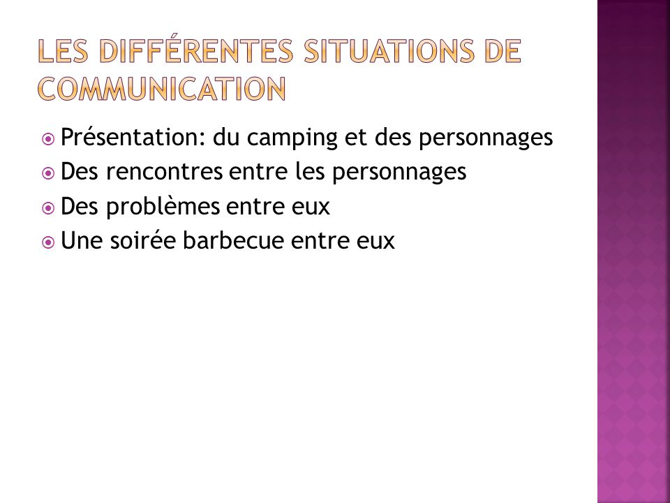Présentation: du camping et des personnages Des rencontres entre les personnages Des problèmes entre eux Une soirée barbecue entre eux