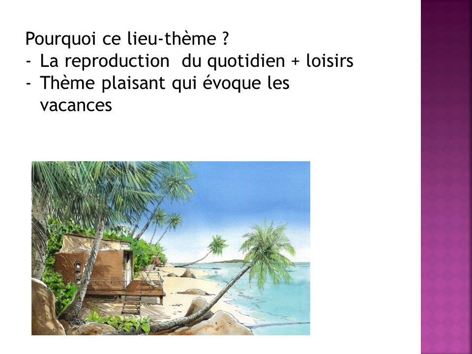 Pourquoi ce lieu-thème ? -La reproduction du quotidien + loisirs -Thème plaisant qui évoque les vacances