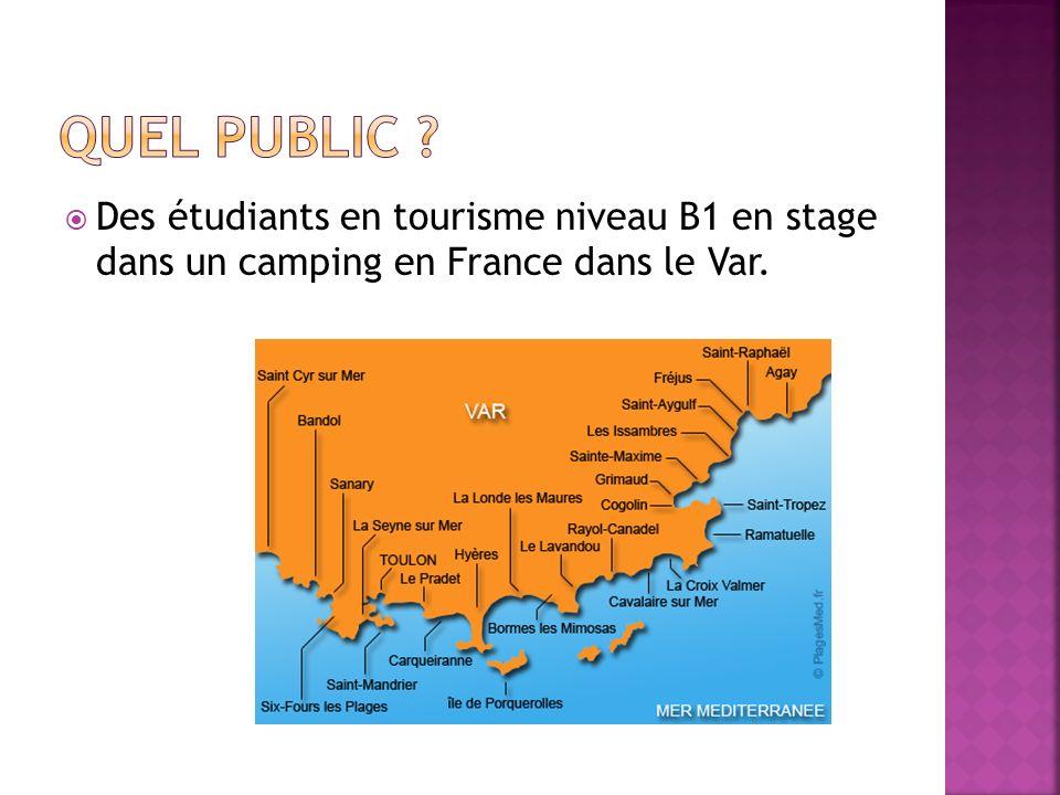 Des étudiants en tourisme niveau B1 en stage dans un camping en France dans le Var.