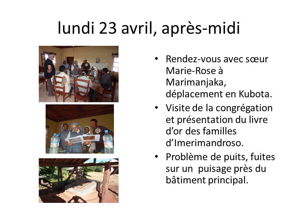lundi 23 avril, après-midi Rendez-vous avec sœur Marie-Rose à Marimanjaka, déplacement en Kubota. Visite de la congrégation et présentation du livre d
