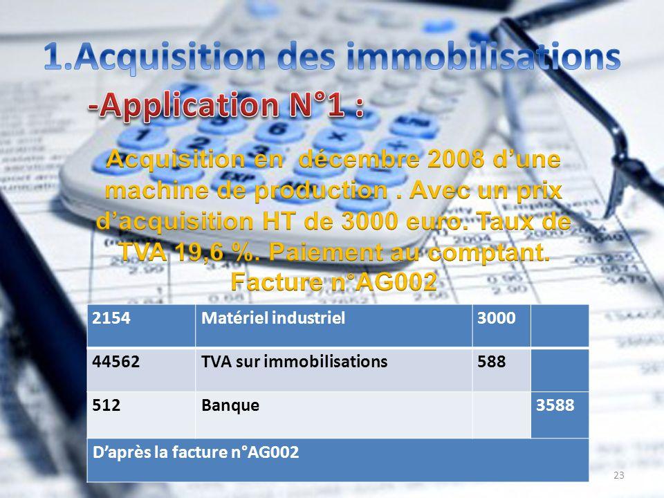 23 3000Matériel industriel2154 588TVA sur immobilisations44562 3588 Banque 512 Daprès la facture n°AG002