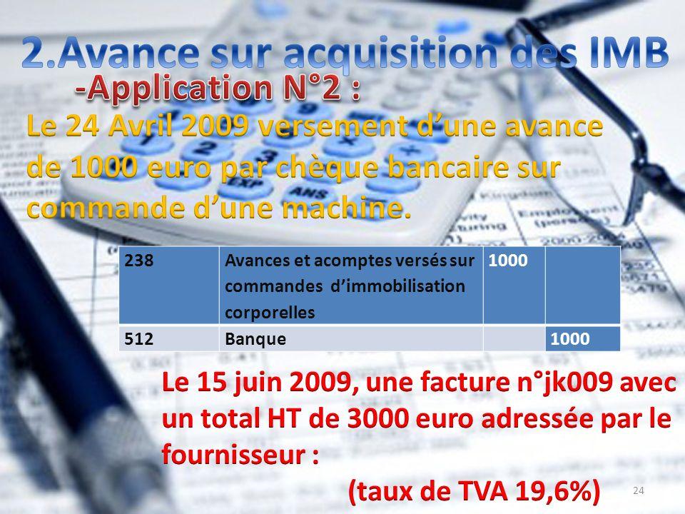 24 1000 Avances et acomptes versés sur commandes dimmobilisation corporelles 238 1000 Banque512