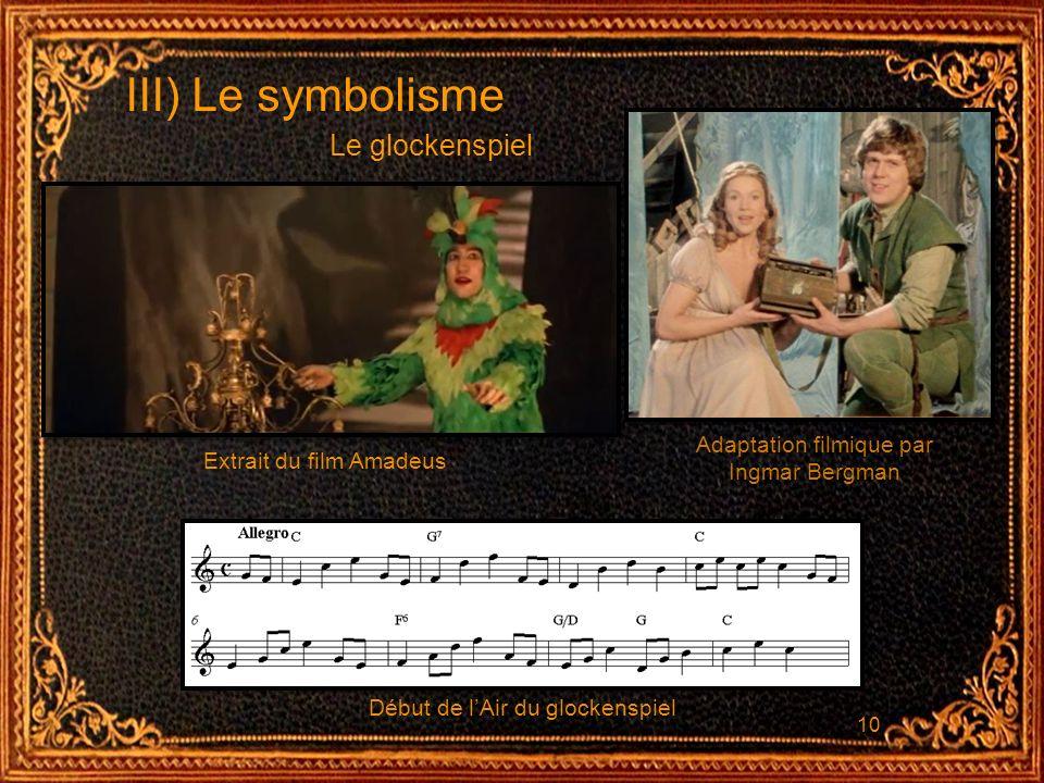10 III) Le symbolisme Le glockenspiel Début de lAir du glockenspiel Extrait du film Amadeus Adaptation filmique par Ingmar Bergman