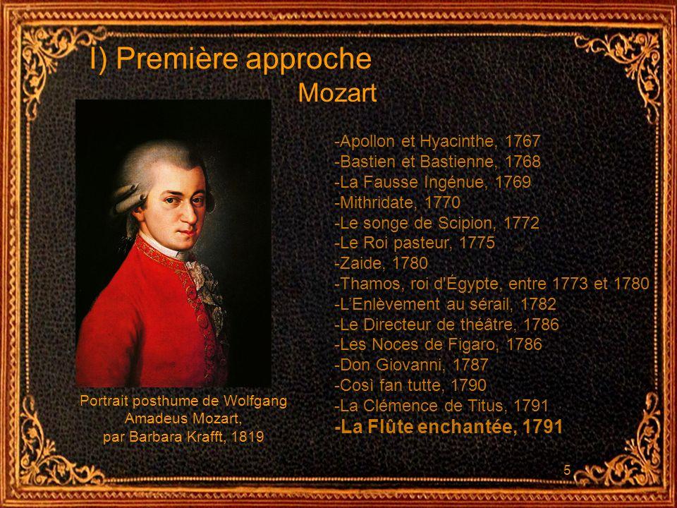 5 I) Première approche -Apollon et Hyacinthe, 1767 -Bastien et Bastienne, 1768 -La Fausse Ingénue, 1769 -Mithridate, 1770 -Le songe de Scipion, 1772 -