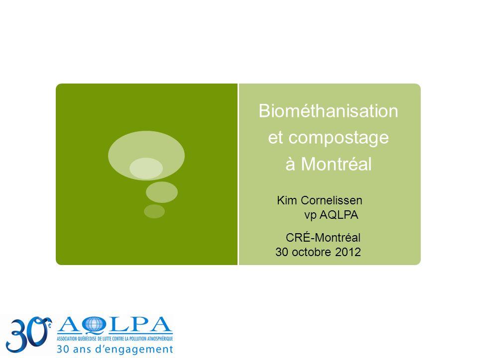 Biométhanisation et compostage à Montréal CRÉ-Montréal 30 octobre 2012 Kim Cornelissen vp AQLPA